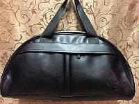 Спортивная сумка CONVERSE  из чёрного кожзама, Конверс, размер Средний