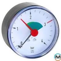 """Манометр аксиальный Afriso 63мм, 0-4 бар, соед. 3/8"""", к.т. 2,5 тип HZ для отопления"""