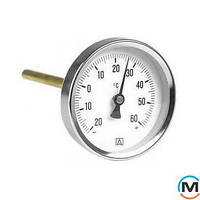 "Термометр биметалический Afriso 63 мм, шток 45 мм, T 0…120°C, соед. 1/2"" металлический"