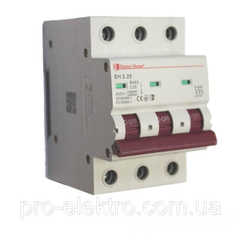 EH-3.25  Автоматический выключатель 3 полюса 25А