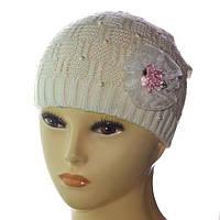 Демисезонная детская шапка для девочек DD1610V молоко bf2ec0d1ec20d