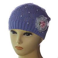 Демисезонная детская шапка для девочек DD1610V тёмно-сиреневый 38efc632aee51