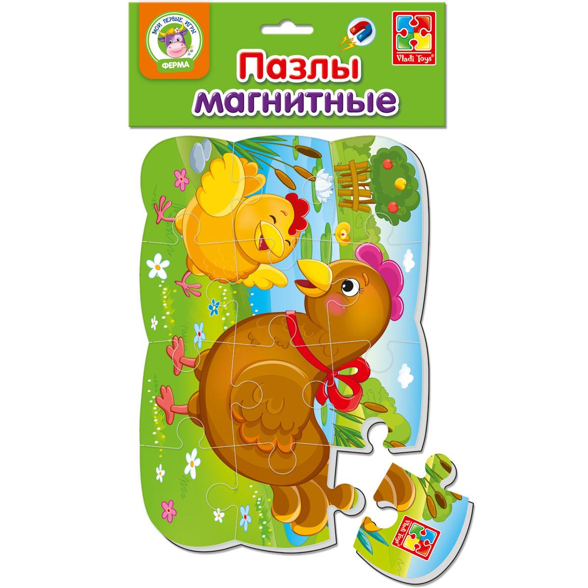 Пазлы на магните Vladi Toys А5 Курочка и ципленок 12 элементов (VT3205-61)