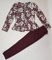 Детский прогулочный костюм с баской р. 116-134 бордо (основной)