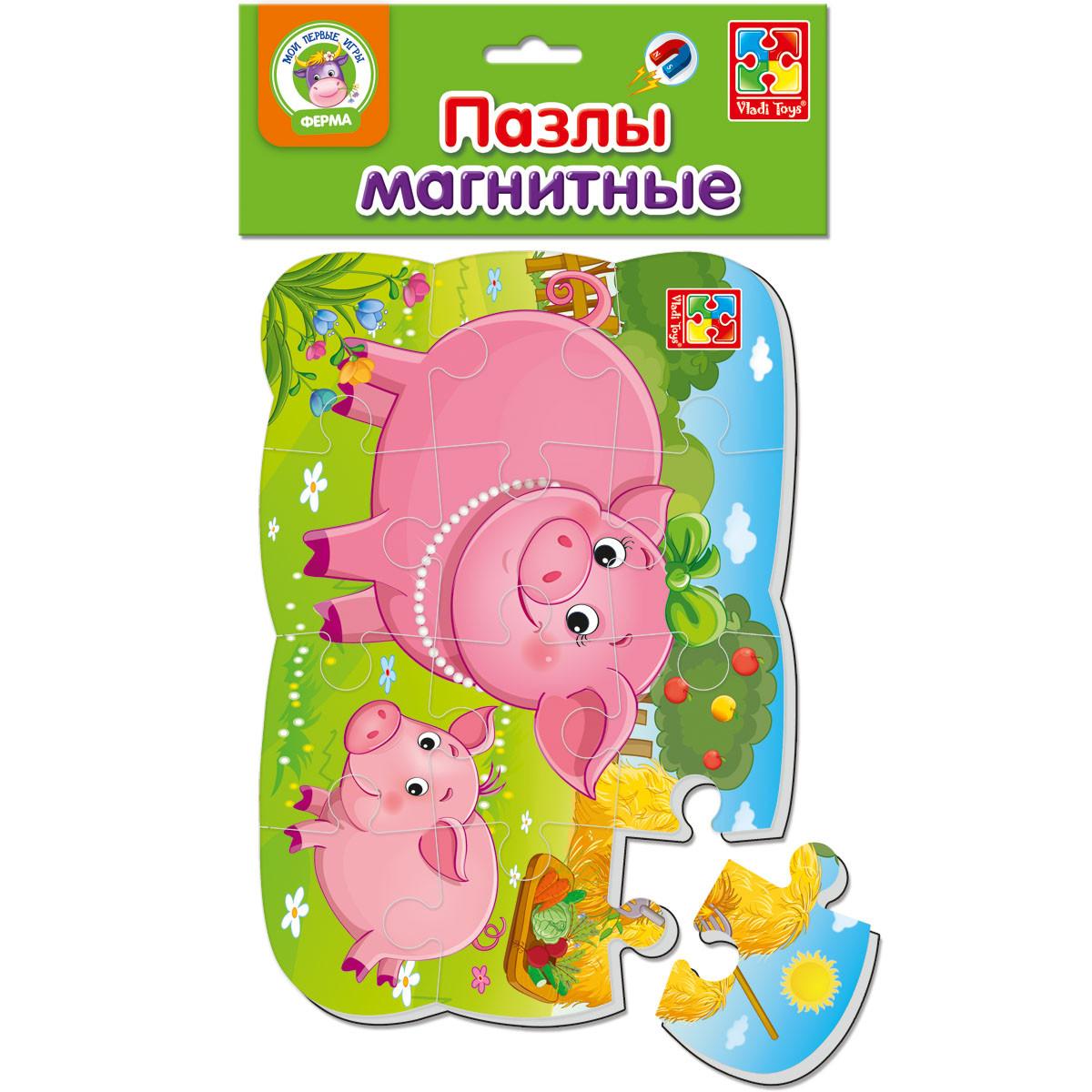 Пазли на магніті Vladi Toys А5 Свиня і порося 12 елементів (VT3205-60)