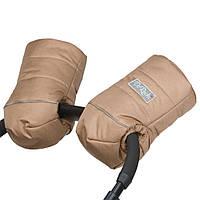 Муфта на коляску детскую на натуральной овчине бежевая / муфта рукавицы на коляску детскую