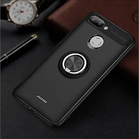 Чехол накладка для Xiaomi Redmi 6 противоударный с магнитным кольцом, черный
