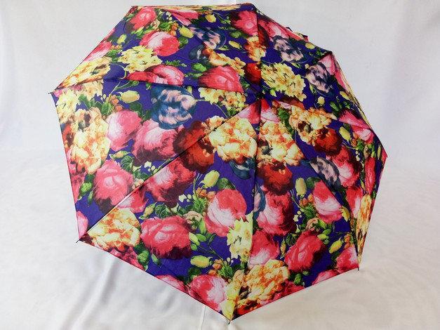 Женский недорогой зонт  механика на 8 спиц цветочный принт