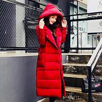 Тёплая зимняя пальтос капюшоном