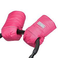 Муфта на коляску детскую на натуральной овчине розовая / муфта рукавицы на коляску детскую
