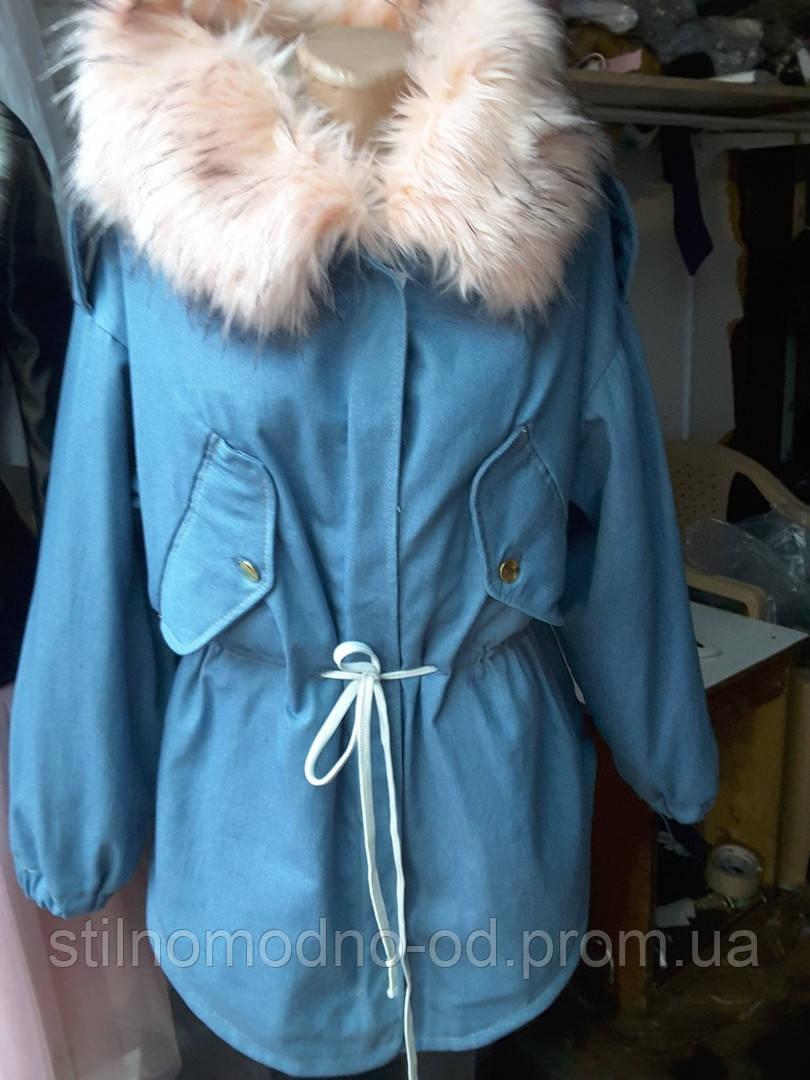 Теплая женская куртка джинс