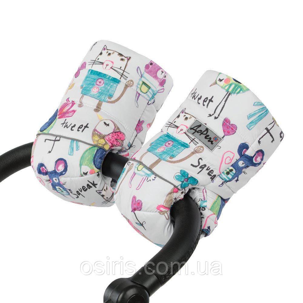 Муфта - рукавицы на натуральной овчине для рук на детскую коляску, рисунки на белом фоне