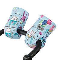 Муфта на коляску детскую на натуральной овчине рисунки на голубом фоне / рукавицы на коляску детскую