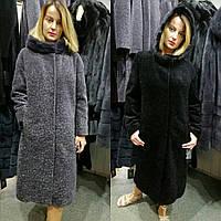 95e06b2475c4 Меховое пальто из натуральной овчины астроган и норки, 110 см, код LK-00122