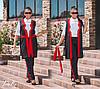 Женский костюм кардиган и брюки красные лампасы