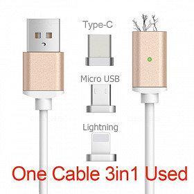 USB кабель на магните 3в1 ART-355 зарядка для смарфона