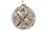 Шар елочный с декором, 10см, цвет - серебро