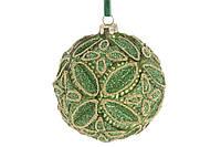 Шар елочный с декором 10см, цвет - золотистый лайм