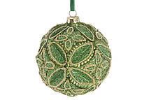 🔥 Распродажа! Шар елочный с декором 10см, цвет - золотистый лайм