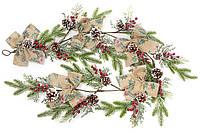 Декоративная гирлянда из искусственной хвои с шишками, бантами и ягодами 152см