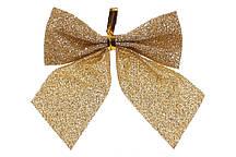 Набор (6шт) новогодних декоративных бантов 7см, цвет - золото