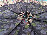Зонт женский механика на 8 спиц цвет бордовый с цветами, фото 2