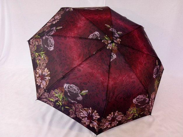 Зонт женский механика на 8 спиц цвет бордовый с цветами