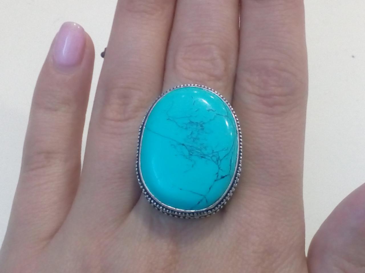 Бирюза кольцо с бирюзой 17.5 размер бирюза в серебре Индия