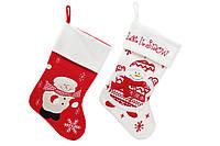 Сапожок для подарков 45см Снеговик, цвет - красный с белым, 2 вида