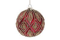 Елочный шар матовый с декором из бусин 10см, цвет - красный гренадин