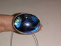 Лабрадор кольцо с натуральным лабрадоритом в серебре 17.5  размер Индия, фото 1