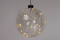 """Елочный шар 15см с LED-подсветкой (20 ламп), прозрачное стекло с покрытием """"лёд"""""""