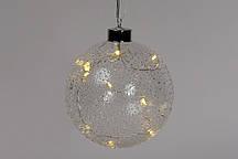 """Елочный шар 12см с LED-подсветкой (10 ламп), прозрачное стекло с покрытием """"лёд"""""""