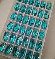 Стразы пришивные Маркиз 9х18 мм Lake Blue, стекло