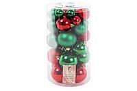 """Набор елочных шаров """"Рождественский"""", цвет - красный с зеленым, 40 шт - 6см, 5см ,4см, 3см: 3шт - красный глянец, 3 шт - зеленый глянец, 2 шт -"""