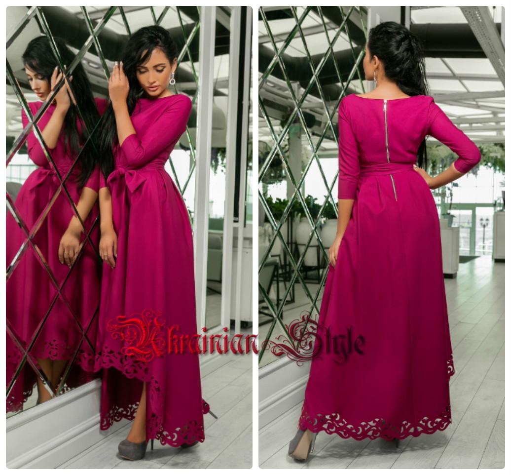 e11d680a358 Нарядное ассиметричное женское платье в пол с перфорацией. цвета ...