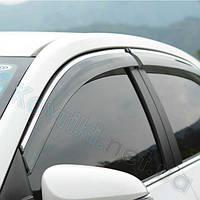 Дефлекторы окон (ветровики) Nissan NP300(D22)(2008-) с хромированным молдингом