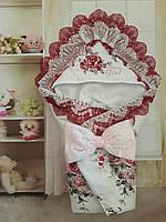 Конверт на выписку  с вышивкой и мягким кружевом, фото 1