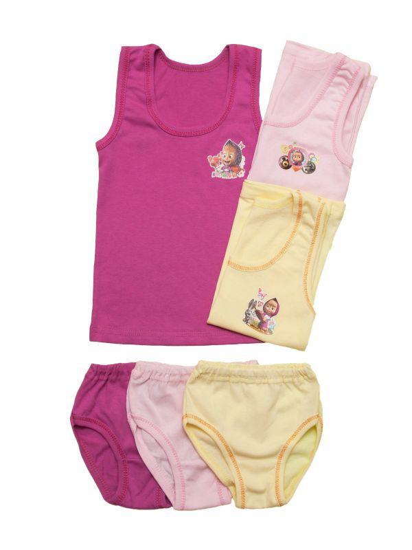 Комплект белья для девочки однотонный цветной, фото 1