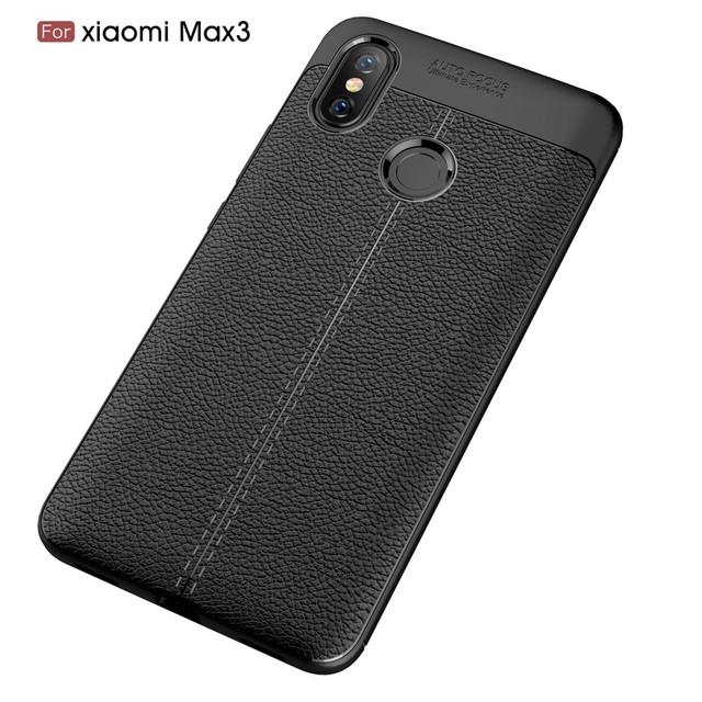 чехол накладка Xiaomi Mi Max 3 черная фактура кожи