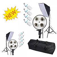 Постоянный флуоресцентный свет Luxfoto комплект (8x45W, 2 софт бокса 50x70 см, 2 стойки 2 м, сумка)