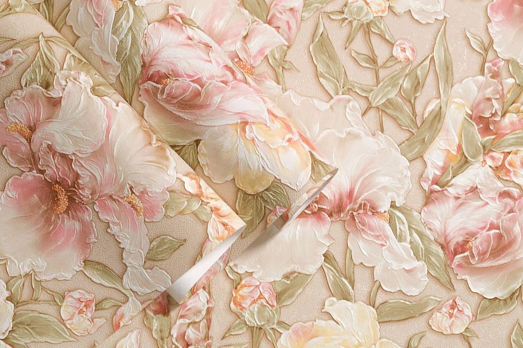 обои флизелиновые буйство цветов в спальню бежевые с персиковым 1