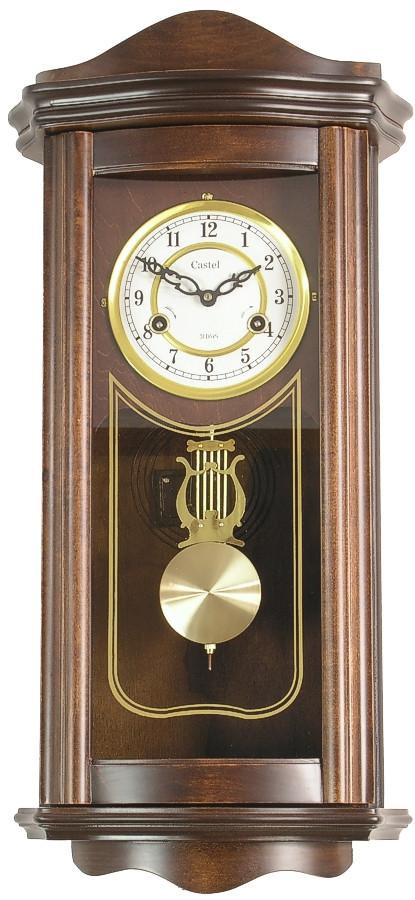 Деревянные настенные часы Castel 63 маятником и боем, цвет орех