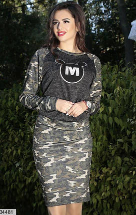 Женский костюм камуфляжный трикотаж ангора-софт размеры 42-46, фото 2