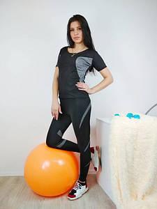 Черный спортивный комплект футболка и лосины с серыми вставками 42-48 р