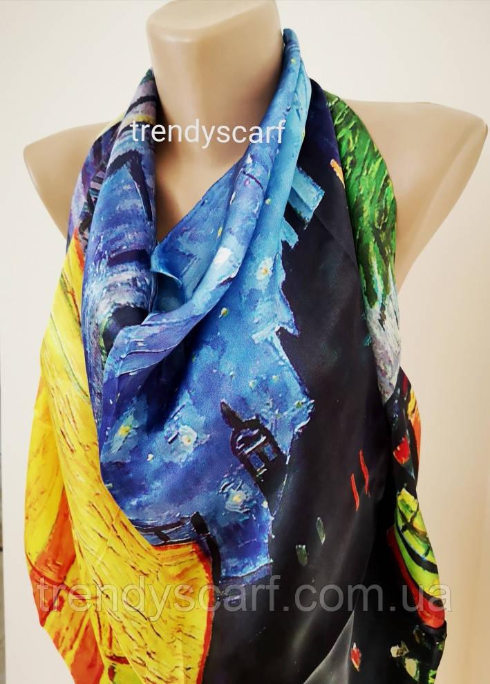 Женский Шелковый платок Бренд.Картина Синий черный красный желтый . Шелк 85\85 см