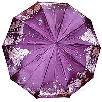 """Зонт женский   полуавтомат, фиолетовый с цветами """"popylar"""""""