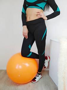 Женские спортивные лосины с зеленой вставкой 42-48 р