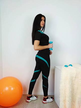 Спортивный комплект для фитнеса с зелеными вставками 42-48 р, фото 2