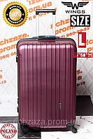 Большой пластиковый темно-красный  дорожный чемодан на 4 колесах  фирма  Wings Украина Одесса